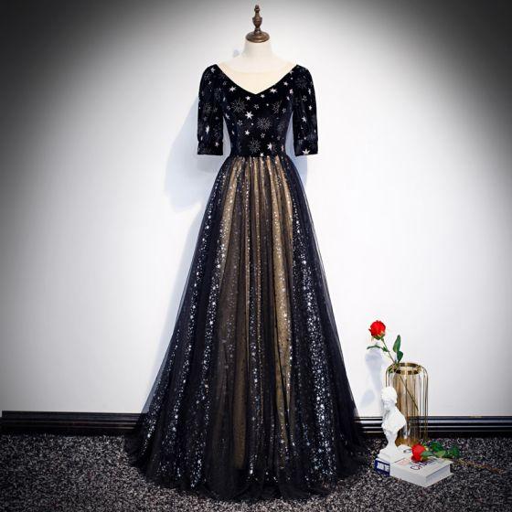 Vintage Schwarz Abendkleider 2020 A Linie Durchsichtige V-Ausschnitt Geschwollenes 1/2 Ärmel Stickerei Glanz Star Tülle Lange Rüschen Festliche Kleider