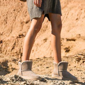 Schlicht Grau Schneestiefel 2020 Woll Leder Ankle Boots Winter Flache Freizeit Runde Zeh Stiefel Damen
