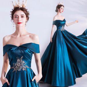 Vintage / Retro Ink Blue Evening Dresses  2020 A-Line / Princess Off-The-Shoulder Beading Pearl Lace Flower Short Sleeve Backless Floor-Length / Long Formal Dresses