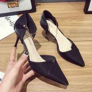 Modest / Simple Black Casual Womens Shoes 2020 7 cm Stiletto Heels Pointed Toe High Heels