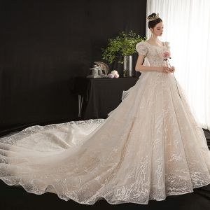 Vintage / Retro Victorian Style Champagne Bridal Wedding Dresses 2020 Ball Gown Square Neckline Puffy Short Sleeve Backless Appliques Sequins Glitter Tulle Cathedral Train Ruffle