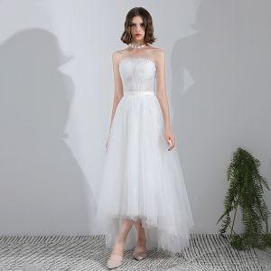 Mode Weiß Asymmetrisch Hochzeit 2018 A Linie Tülle Schnüren Kristall Bandeau Strand Brautkleider