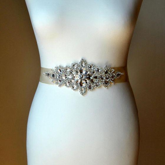 Luxus Ivory Bryllup Skærf  2020 Satin Metal Håndlavet Beading Krystal Rhinestone Bryllups Selskabs Galla Accessories
