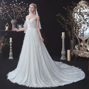 Affordable Outdoor / Garden White Wedding Dresses 2020 A-Line / Princess Spaghetti Straps Sleeveless Backless Feather Glitter Polyester Sash Court Train
