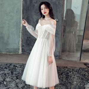 Elegante Weiß Brautkleider / Hochzeitskleider 2019 A Linie Spitze Spaghettiträger Rückenfreies 3/4 Ärmel Wadenlang