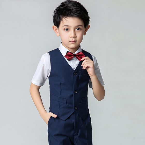Modest / Simple Summer Navy Blue Boys Wedding Suits 2019 Short Sleeve Shirt Pants Tie Vest