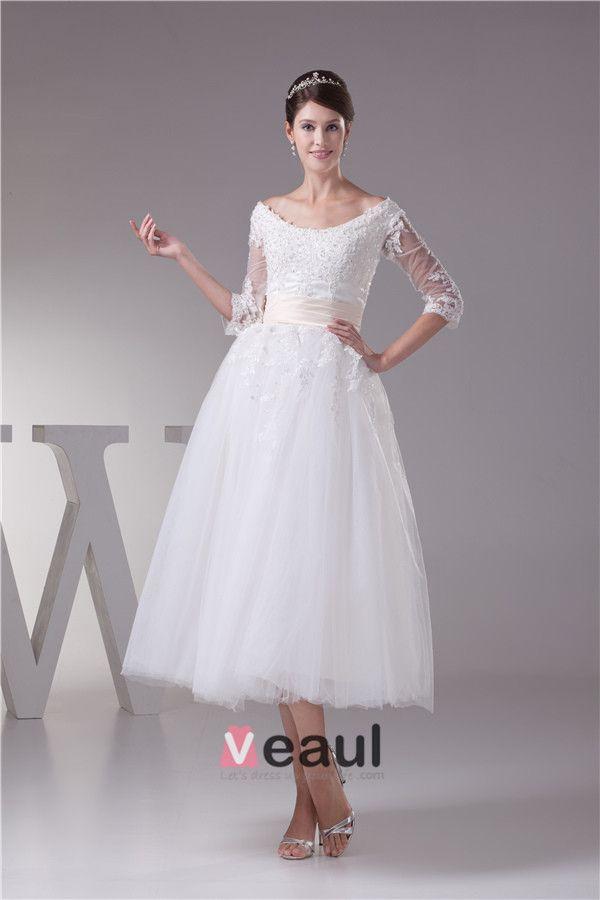 Charmante Ballkleid Rundhalsausschnitt Spitzenärmel Tee Länge Hochzeitskleid Kurzen Brautkleid