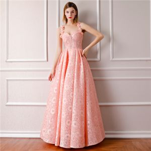 Modern / Fashion Pearl Pink Prom Dresses 2019 A-Line / Princess Sleeveless Shoulders Flower Rhinestone Floor-Length / Long Ruffle Backless Formal Dresses