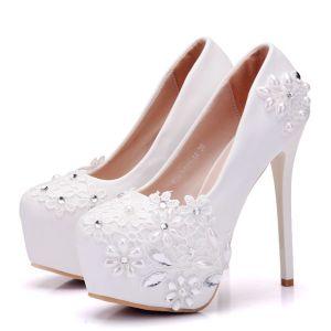 Chic / Beautiful White Wedding Shoes 2018 Lace Pearl Rhinestone 14 cm Stiletto Heels Round Toe Wedding Pumps