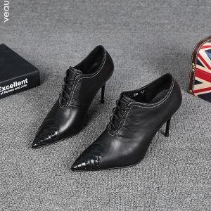 Mote Fine Svart Gateklær Lær Kvinners støvler 2021 Ankel 8 cm Stiletthæler Spisse Pumps