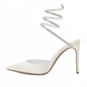 Fantastiske / Unike Elfenben Aften Sandaler Dame 2020 Lær Rhinestone 8 cm Stiletthæler Spisse Sandaler
