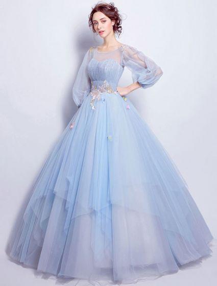 Flower Fairy Sukienki Na Bal 2017 Miarka Dekolt Aplikacja Kolorowe Kwiaty Wzburzyć Błękitny Tiulowe Sukienki Wizytowe