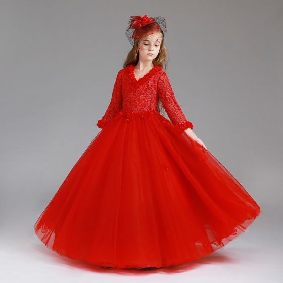 Chic / Beautiful Red Flower Girl Dresses 2017 Ball Gown V-Neck Long Sleeve Appliques Lace Floor-Length / Long Wedding Party Dresses