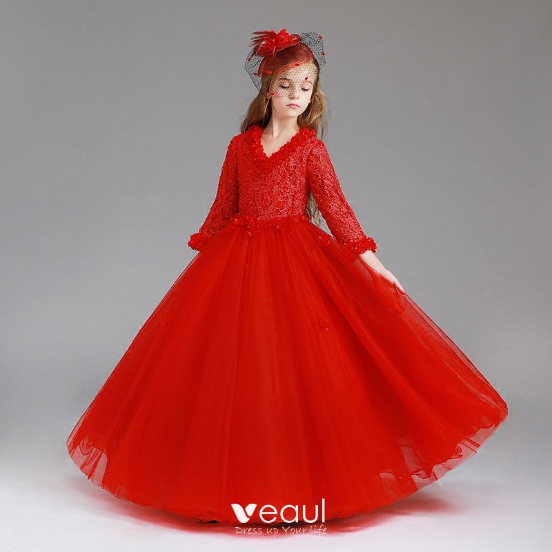 Chic Beautiful Red Flower Girl Dresses 2017 Ball Gown V Neck Long Sleeve Appliques Lace Floor Length Long Wedding Party Dresses