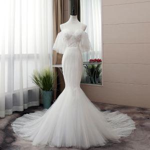 Elegant White Wedding Dresses 2019 Trumpet / Mermaid Spaghetti Straps Sequins Short Sleeve Backless Cathedral Train