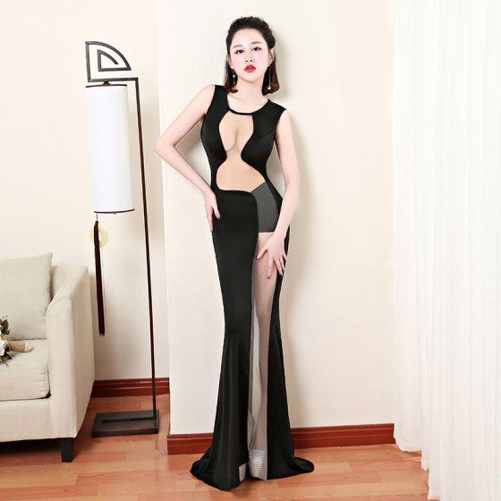 Seksowne Czarne Przezroczyste Sukienki Wieczorowe 2019 Syrena / Rozkloszowane Wycięciem Bez Rękawów Trenem Sweep Sukienki Wizytowe