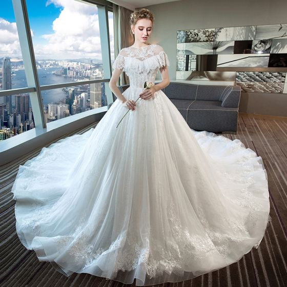 Chic / Beautiful Ivory Wedding Dresses 2018 Ball Gown Lace Beading Sequins Scoop Neck Backless Short Sleeve Cathedral Train Wedding