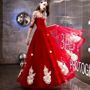 Modern / Fashion Red Evening Dresses  2018 A-Line / Princess Appliques Lace Off-The-Shoulder 1/2 Sleeves Backless Floor-Length / Long Formal Dresses