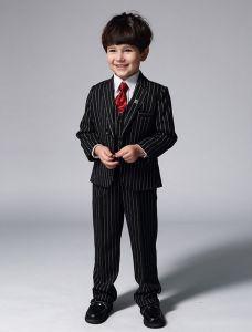 Jungen Schwarze Anzüge Mit Weißen Streifen Klagen Der Kinder 4 Sätze