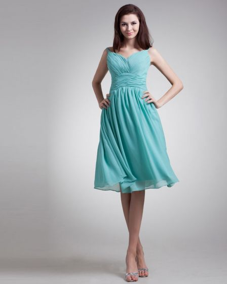 Chiffon Ruffle Spaghetti Straps Knee Length Bridesmaid Dress
