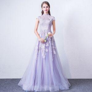 Elegant Lavender Evening Dresses  2018 A-Line / Princess High Neck Cap Sleeves Appliques Lace Sweep Train Ruffle Formal Dresses