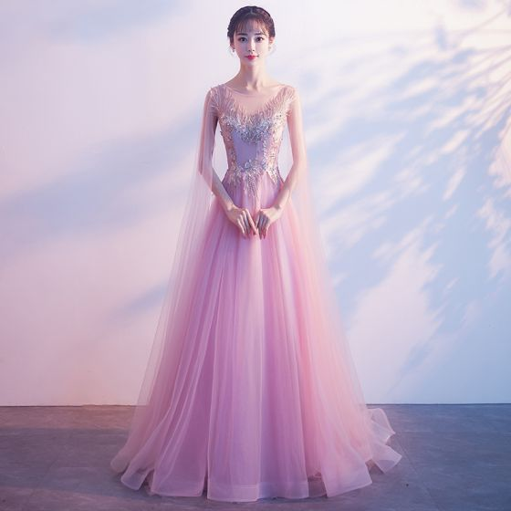 Elegant Candy Pink See-through Evening Dresses  2018 A-Line / Princess Scoop Neck Sleeveless Appliques Lace Beading Watteau Train Ruffle Backless Formal Dresses