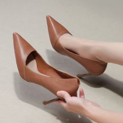 Modest / Simple Brown Office Pumps 2019 Leather 8 cm Stiletto Heels Pointed Toe Pumps