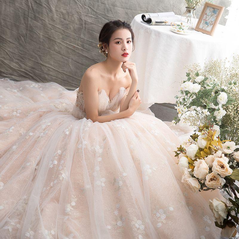 Luksusowe Szampan Suknie Ślubne 2019 Suknia Balowa Kochanie Bez Rękawów Bez Pleców Aplikacje Z Koronki Frezowanie Cekinami Tiulowe Trenem Katedra Wzburzyć