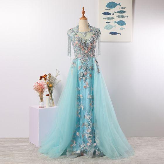 Charmant Lindgrün Abendkleider 2020 A Linie U-Ausschnitt Handgefertigt Perlenstickerei Quaste Kristall Strass Spitze Blumen Ärmellos Lange Festliche Kleider