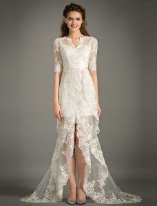 A-line V-ausschnitt 1/2 Ärmel Spitzesommer Brautkleid Mit Schärpe