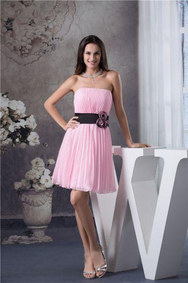 130ce5f30e Vestido De Fiesta Rosa Plisado Sin Tirantes Lindo Cinturón Negro Con Flores  Hechas A Mano Vestido ...