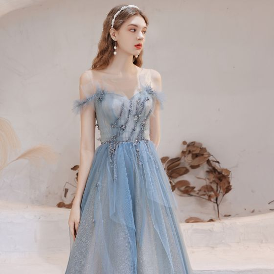 Maravilloso Azul Cielo Vestidos de gala 2021 A-Line / Princess Scoop Escote Sin Mangas Glitter Ruffle Tul Largos Noche Vestidos Formales