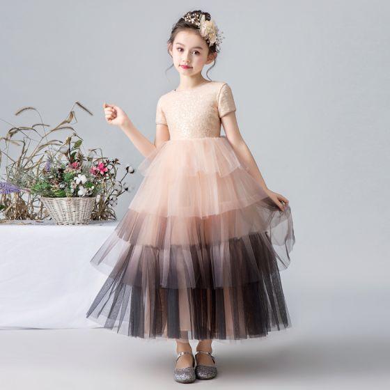 Eleganckie Różowy Perłowy Gradient-Kolorów Sukienki Dla Dziewczynek 2019 Suknia Balowa Wycięciem Kótkie Rękawy Cekiny Długość Kostki Kaskadowe Falbany Sukienki Na Wesele
