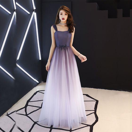 Moderne / Mode Violet Robe De Bal 2019 Princesse épaules Sans Manches Perlage Longue Volants Dos Nu Robe De Ceremonie