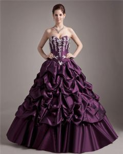 Ball Gown Taffeta Applique Beading Sweetheart Ruffle Floor Length Quinceanera Prom Dresses