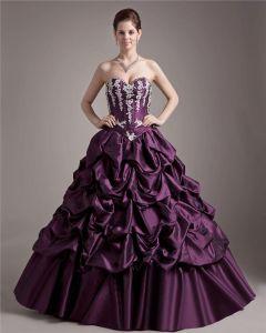Ball Gown Taffeta Applique Beading Sweetheart Ruffle Floor Length Quinceanera Prom Dresses