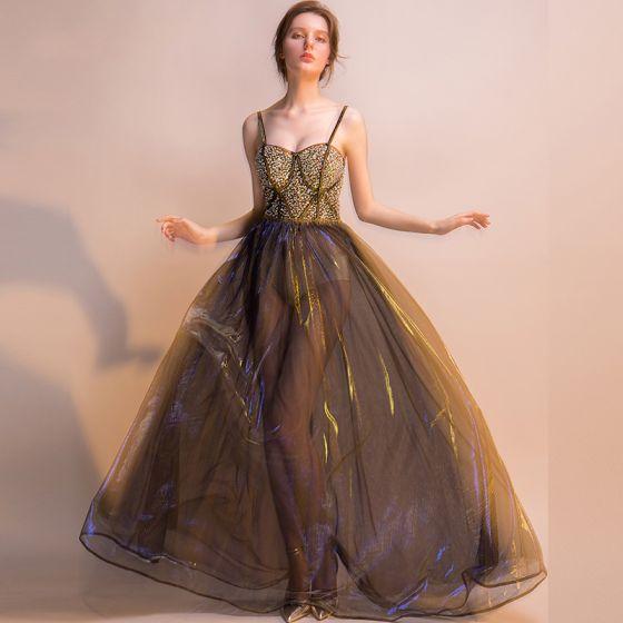 Sexy Black Gold Royal Blue Summer Evening Dresses  2018 Empire Spaghetti Straps Sleeveless Beading Sparkly Tulle Floor-Length / Long Backless Formal Dresses