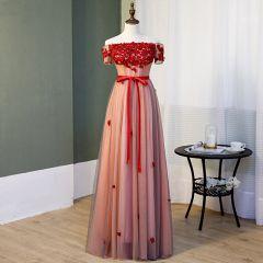 Charmant Rougissant Rose Robe De Soirée 2019 Princesse De l'épaule Cristal En Dentelle Fleur Appliques Manches Courtes Dos Nu Noeud Longue Robe De Ceremonie