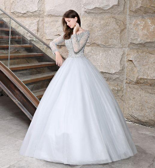 886b8a9412 Błyszczące Szary Sukienki Na Bal 2018 Suknia Balowa Frezowanie Cekiny  Wycięciem Długie Rękawy Bez Pleców Długie Sukienki Wizytowe