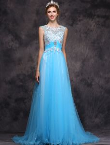 Beautiful Evening Dress 2016 A-line Scoop Neck Applique Lace Beading Ruffle Sky Blue Tulle Long Dress