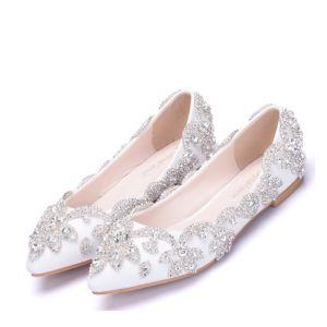 Brillante Blanco Rhinestone Punta Estrecha Planos Zapatos de novia 2018