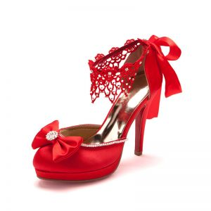 Butterfly Knot Red Lace Bridal Shoes / Wedding Shoes / Woman Shoes