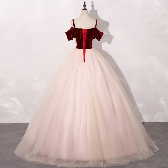 Chic / Beautiful Blushing Pink Burgundy Prom Dresses 2020 Ball Gown Shoulders Short Sleeve Appliques Lace Floor-Length / Long Ruffle Backless Formal Dresses