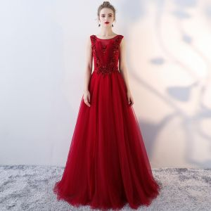 Chic / Beautiful Evening Dresses  2018 A-Line / Princess Lace Appliques Sequins Rhinestone Scoop Neck Sleeveless Floor-Length / Long Formal Dresses