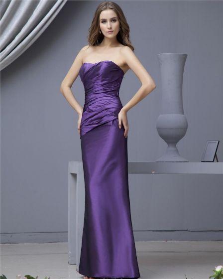Delicate Sheath Strapless Taffeta Floor Length Bridesmaid Dresses