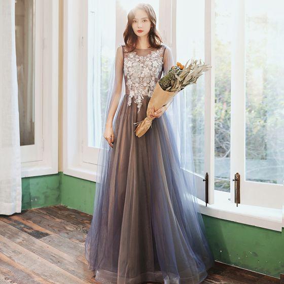 Elegant Ocean Blue Evening Dresses  2020 A-Line / Princess Scoop Neck Appliques Lace Flower Beading Sequins Sleeveless Backless Floor-Length / Long Formal Dresses