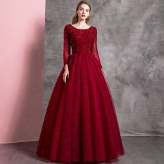 Chic / Beautiful Burgundy Prom Dresses 2019 A-Line / Princess Scoop Neck Beading Crystal Sequins Long Sleeve Backless Floor-Length / Long Formal Dresses