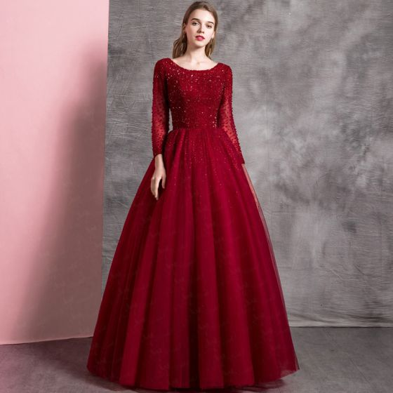 60db4e533c Chic   Beautiful Burgundy Prom Dresses 2019 A-Line   Princess Scoop Neck  Beading Crystal Sequins Long Sleeve ...