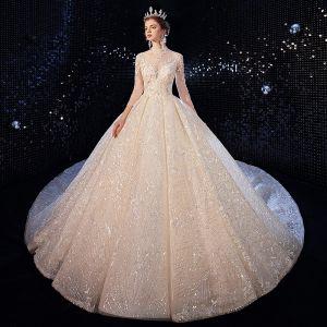 Luxus / Herrlich Champagner Brautkleider / Hochzeitskleider 2020 Ballkleid Stehkragen Pailletten Spitze Blumen Applikationen 3/4 Ärmel Rückenfreies Königliche Schleppe