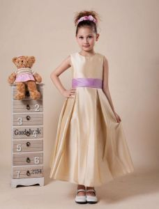 Simple Sleeveless Ankle Length Sash Flower Girl Dress